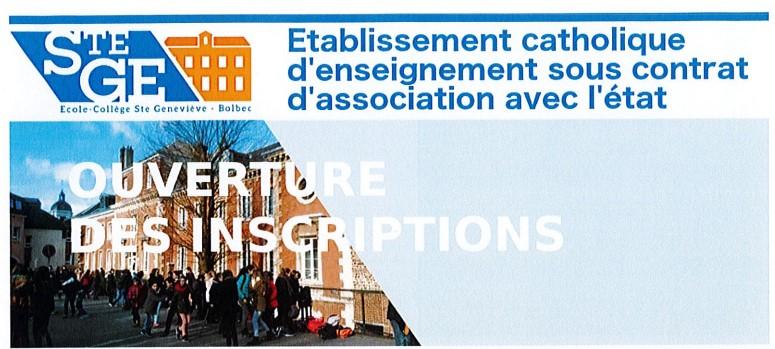 Ecole / Collège Sainte-Geneviève : ouverture des inscriptions